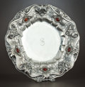 Silver Holloware, Continental:Holloware, AN ITALIAN SILVER AND CARNELIAN CHARGER . Maker unidentified,Italy, circa 1938-1968. Marks: (effaced hexagon), (column),...