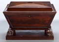 Furniture : English, A GEORGE IV MAHOGANY CELLARETTE . Maker unknown, probably London, England, circa 1820. Unmarked. 21 x 30-1/4 x 24-1/4 inches...