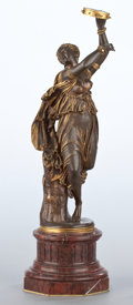 Bronze:European, A FRENCH PATINATED AND GILT BRONZE FIGURE . After Jean-BaptisteClesinger, Paris, France, circa 1875-1900. Marks: J.CLESI...