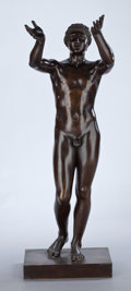 Bronze:European, A CONTINENTAL PATINATED BRONZE FIGURE . Unknown artist, possiblyFrance, circa 1900. Unmarked. 54 inches high (137.2 cm). ...