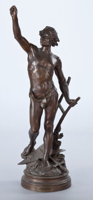 A FRENCH PATINATED BRONZE FIGURE After Edouard Drouot, Paris, France, circa 1900 Marks: E. Drouot