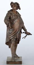 Bronze:European, A FRENCH PATINATED BRONZE FIGURE . After Emile Louis Picault,Paris, France, circa 1900. Marks: E. PICAULT. 22 incheshi...