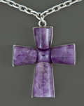 Silver Smalls:Other , A MEXICAN SILVER AND AMETHYST QUARTZ PENDENT AND CHAIN . WilliamSpratling, Taxco, Mexico, circa 1944-1946. Marks: SPRAT...(Total: 2 Items)
