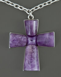 A MEXICAN SILVER AND AMETHYST QUARTZ PENDENT AND CHAIN William Spratling, Taxco, Mexico, circa 1944-1946 Mar