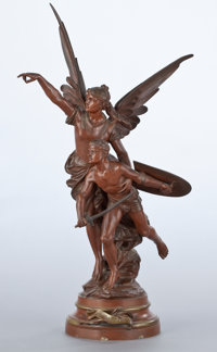 A FRENCH PATINATED FIGURAL BRONZE GROUP After Edouard Drouot, Paris, France, circa 1900 Marks: E. Drouot