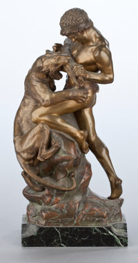 A FRENCH PATINATED AND GILT BRONZE FIGURAL GROUP After Edouard Drouot, Paris, France, circa 1895 Marks: E. D