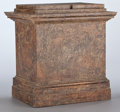 Furniture , A PAINTED WOOD PEDESTAL . Unknown maker, probably American, 20th century. Unmarked. 22-3/8 x 22 x 16-3/4 inches (56.8 x 55.9...