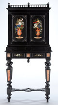 Furniture : Continental, AN ITALIAN PIETRE DURE AND EBONIZED WOOD CABINET ON STAND . Guiseppe Montelatici, Florence, Italy, 1883. Marks: Guiseppe M...