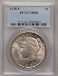 Peace Dollars: , 1928-S $1 MS61 PCGS. PCGS Population (172/4395). NGC Census:(206/1179). Mintage: 1,632,000. Numismedia Wsl. Price for prob...