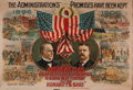 """Political:Posters & Broadsides (1896-present), McKinley & Roosevelt: One of the Classic Multicolored PosterDesigns from the """"Golden Age"""" of American Color Lithography...."""