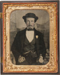 Photography:Ambrotypes, Spectacular Large Half Plate Ambrotype of a Civil War EraDetective....