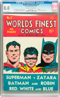 Golden Age (1938-1955):Superhero, World's Finest Comics #2 (DC, 1941) CGC VF 8.0 Off-white to white pages....