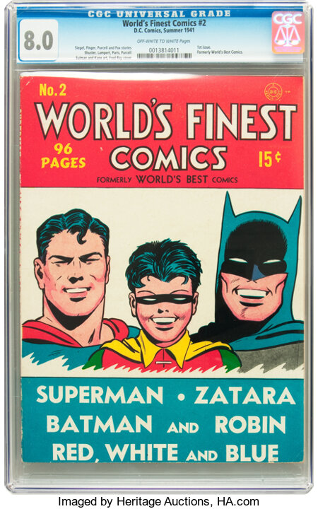 World's Finest Comics #2 (DC, 1941) CGC VF 8.0 Off-white to white pages....