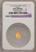 California Fractional Gold, 1870 25C Goofy Head Round 25 Cents, BG-867, R.4,--PlanchetFlaw--NGC Details. Unc. NGC Census: (0/6). PCGS Population (...