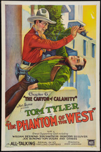 """The Phantom of the West (Mascot, 1931). Flat Folded One Sheet (27"""" X 41"""") Chapter 6 -- """"The Canyon of Cal..."""