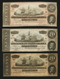 Confederate Notes:1864 Issues, T67 $20 1864 Three Examples.. ... (Total: 3 notes)