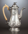 Silver Holloware, British:Holloware, A GEORGE III SILVER AND BONE COFFEE POT WITH FIGURAL FINIAL . William Shaw & William Priest, London, England, circa 1755-175...