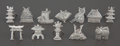 Silver & Vertu:Smalls & Jewelry, A SET OF TWELVE JAPANESE SILVER PLACE CARD HOLDERS . Maker unknown, Japan, circa 1900. Marks: STERLING, O5O. 1-1/4 inche... (Total: 12 Items)