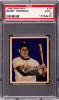 Baseball Cards:Singles (1940-1949), 1949 Bowman Bobby Thomson #18 PSA Mint 9 - Pop 4 With NoneHigher....