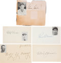 Autographs:Index Cards, 1940's Baseball Hall of Famers Signed Paper Lot of 5 with Young,Speaker....