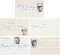 Autographs:Index Cards, 1950's Baseball Hall of Famers Signed Index Cards Lot of 5 withBaker, Traynor....