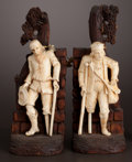 Decorative Arts, Continental:Other , A PAIR OF CONTINENTAL CARVED IVORY FIGURES MOUNTED ON WOOD . Maker unknown, probably Germany, circa 1880. Unmarked. 8-1/4 in... (Total: 2 Items)