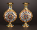 Decorative Arts, French:Other , A PAIR OF FRENCH GILT BRONZE AND CHAMPLEVÉ ENAMEL VASES .Attributed to Ferdinand Bardedienne, Paris, France, circa 1875.Un... (Total: 2 Items)