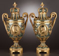 Decorative Arts, French:Other , A PAIR OF FRENCH GILT BRONZE AND MARBLE URNS . Maker unknown,probably Paris, France, circa 1875. Unmarked. 20-3/4 inches hi...(Total: 2 Items)