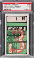 "Baseball Collectibles:Tickets, 1932 World Series Babe Ruth ""Called Shot"" Game Ticket Stub...."