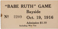 "Baseball Collectibles:Tickets, 1916 ""Babe Ruth"" Game Ticket Stub...."