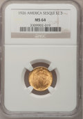 Commemorative Gold, 1926 $2 1/2 Sesquicentennial MS64 NGC....