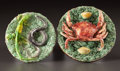 Ceramics & Porcelain, Continental, TWO PORTUGUESE PALISSY WARE PLAQUES . José Francisco de Sousa, Caldas, Portugal, circa 1880. Marks: J.F.S.. 2 x 6 inches... (Total: 2 Items)