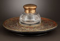 Decorative Arts, French:Other , AN ENGLISH BOULLE WORK INKSTAND WITH CRYSTAL INKWELL . Makerunknown, probably London, England, circa 1820. Unmarked. 5-1/4 ...(Total: 2 Items)