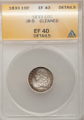 Bust Dimes, 1833 10C --Cleaned--ANACS. XF40 Details. JR-9. NGC Census: (7/236).PCGS Population (26/236). Mintage: 485,000. Numismedia ...