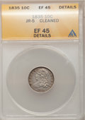 Bust Dimes: , 1835 10C --Cleaned--ANACS. XF45 Details. JR-5. NGC Census:(22/367). PCGS Population (41/295). Mintage: 1,410,000. Numismed...