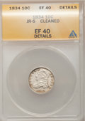Bust Dimes: , 1834 10C Small 4--Cleaned--ANACS. XF40 Details. JR-5. NGC Census:(15/236). PCGS Population (7/168). Mintage: 635,000. Num...