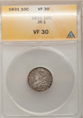 Bust Dimes: , 1831 10C VF30 ANACS. JR-1. NGC Census: (5/255). PCGS Population (9/255). Mintage: 771,350. Numismedia Wsl. Price for probl...