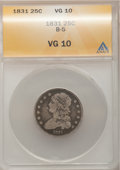 Bust Quarters: , 1831 25C Small Letters VG10 ANACS. B-5. NGC Census: (1/449). PCGS Population (0/442). Mintage: 398,000. Numismedia Wsl. Pr...
