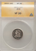 Bust Dimes: , 1833 10C VF20 ANACS. JR-9. NGC Census: (2/253). PCGS Population(6/290). Mintage: 485,000. Numismedia Wsl. Price for probl...