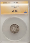 Bust Dimes: , 1830 10C Medium 10C VF20 ANACS. JR-6. NGC Census: (4/156). PCGSPopulation (2/179). Mintage: 510,000. Numismedia Wsl. Pric...
