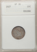 Bust Dimes: , 1827 10C VF30 ANACS. NGC Census: (7/233). PCGS Population (13/245).Mintage: 1,300,000. Numismedia Wsl. Price for problem f...