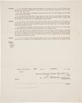 Autographs:Others, 1925 Christy Mathewson Signed Uniform Player's Contract....