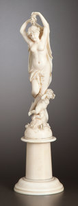 Paintings, A CONTINENTAL IVORY FIGURAL GROUP . Maker unknown, probably France or Germany, circa 1880. Unmarked. 8-5/8 inches high (21.9...
