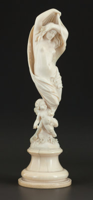 A CONTINENTAL IVORY FIGURAL GROUP Maker unknown, probably France or Germany, circa 1880 Unmarked 8-1/4 inch