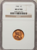 Lincoln Cents: , 1942 1C MS67 Red NGC. NGC Census: (369/0). PCGS Population (121/0).Mintage: 657,828,608. Numismedia Wsl. Price for problem...