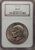 Eisenhower Dollars: , 1977 $1 MS66 NGC. NGC Census: (277/7). PCGS Population (776/14). Mintage: 12,596,000. Numismedia Wsl. Price for problem fre...