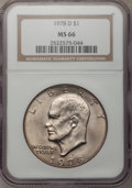 Eisenhower Dollars: , 1978-D $1 MS66 NGC. NGC Census: (180/2). PCGS Population (496/1). Mintage: 33,012,890. Numismedia Wsl. Price for problem fr...