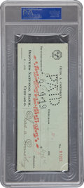 Autographs:Checks, 1919 Chicago White Sox Payroll Check Signed by Eddie Cicotte &Charles Comiskey....
