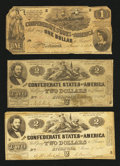 Confederate Notes:1862 Issues, $2 and $1 1862 Notes.. ... (Total: 3 notes)