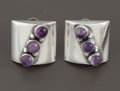 Silver Smalls:Other , A PAIR OF MEXICAN SILVER AND AMETHYST QUARTZ EARRINGS . Fred Davis,Mexico City, Mexico, circa 1940. Marks: FD (conjoine...(Total: 2 Items)